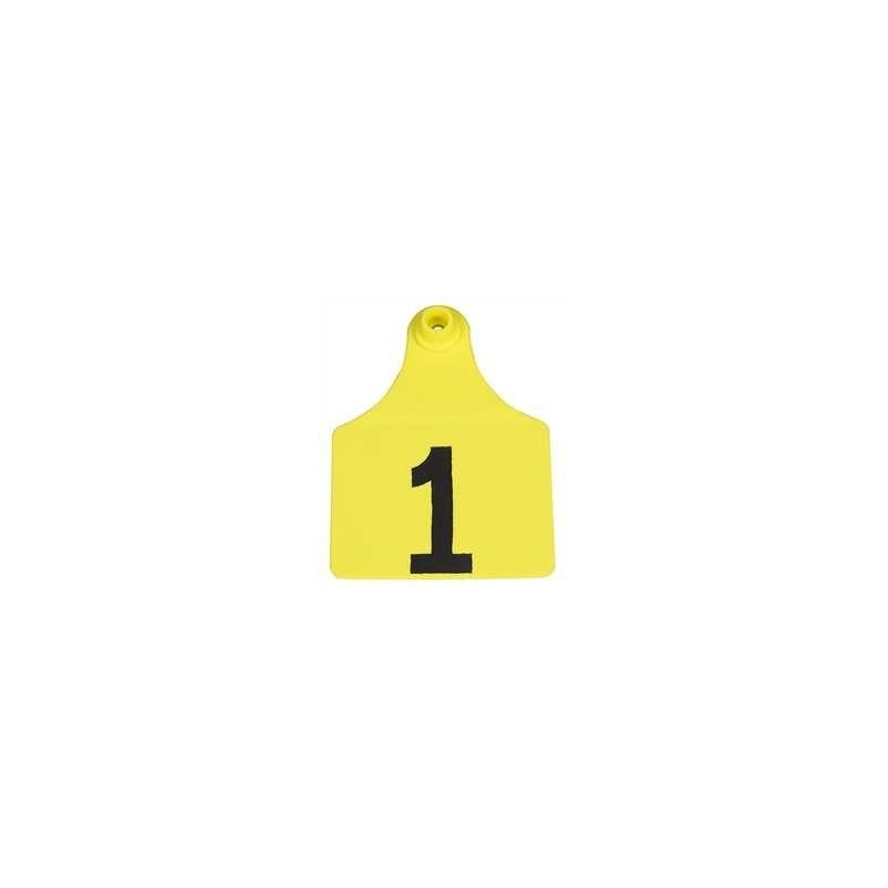"""ALLFLEX GLOBAL Ear Tags Maxi 4/"""" x 3/"""" with Buttons Yellow #176-200 25ct Package"""