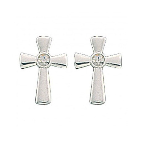 ER61129 Tiny Silver Cross Post Earrings