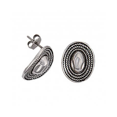 ER1684 Silver Roped Hat Charm Earrings