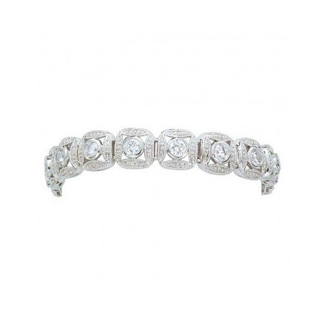 BC61503CZ Silver Bead and Crystal Square Link Bracelet