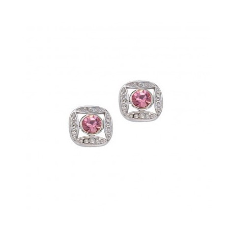 ER61503PK Bezel Set Square Pink Crystal Earrings