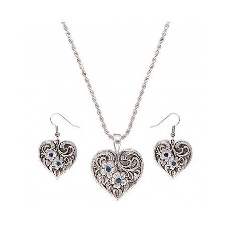 JS1122 True Blue Tangled Flowers Silver Filigree Jewelry Set