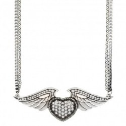 NC2073R47 Necklace Rhinestone Heart on Wings