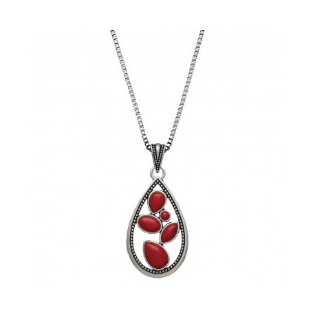 NC2091RR47 Necklace Campfire Coals Red Sparks Teardrop
