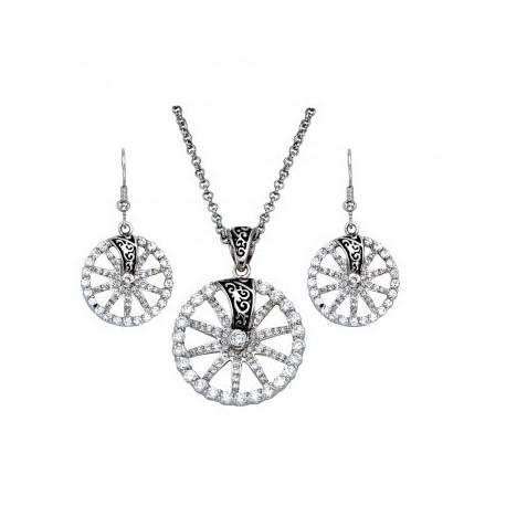 JS1186 Silver Crystal and Filigree Wagon Wheel Jewelry Set