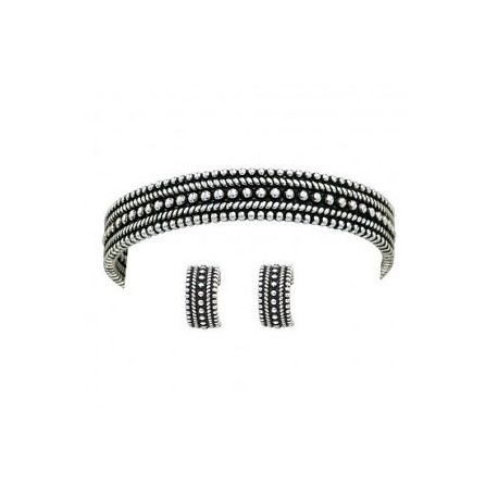 JS1040 Jewelry Set Antiqued Silver Small Beaded Cuff