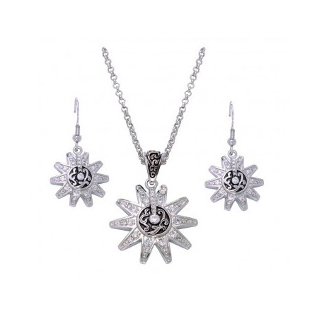 JS1188 Silver, Crystal and Filigree Spur Rowel Jewelry Set