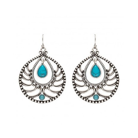 ER2078TR47 Earring Knotted Lace Teardrop Blue Stone