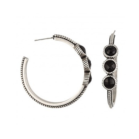 ER2119BR47 Rocks and Roll Night Pebbles Hoop Earrings