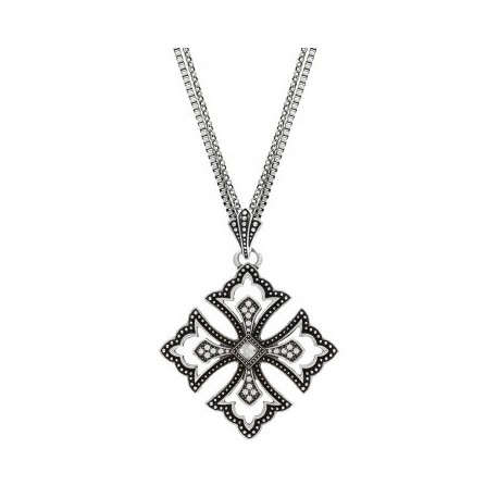 NC2069R47 Pins and Needles Scalloped Cross Necklace