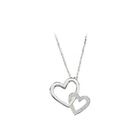 NC61120 Double Heart with Crystal Necklace