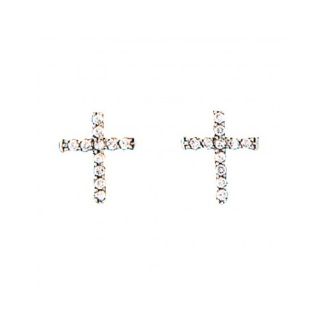 ER1510 Quiet Faith Tiny Crystal Cross Earrings
