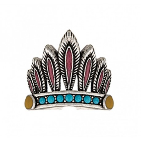RG2434R47 Rock 47 Tribal Flair Headdress Fashion Ring