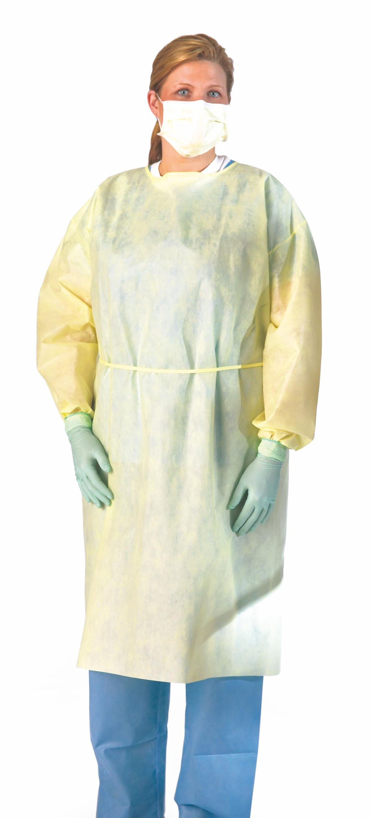 Medline lightweight multi-ply fluid resistant isolation gown, yellow