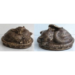 Cat Angel Faux Bronze Urn  J0317Y