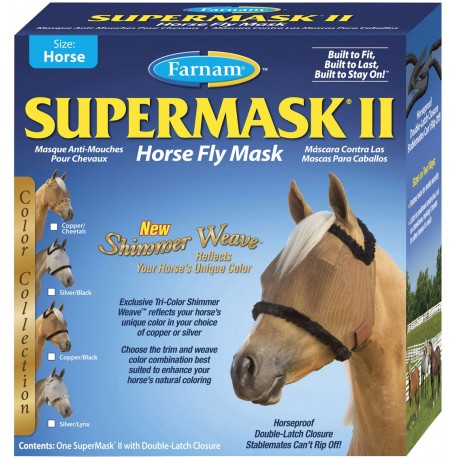 Supermask II Fly Mask Shimmer-Horse Silver/Black