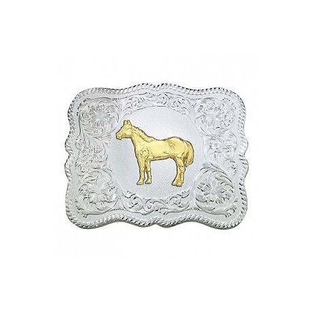 61669-54 Silver Engraved 3.5 x 4.5 Small Scalloped Buckle with Standing Horse Figure