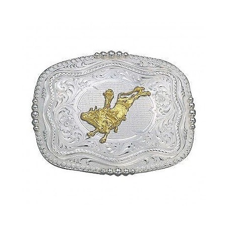 6508-160 Silver 2.75 x 3.5 Rectangle Buckle with Bull Rider Figure