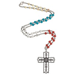 N2597R47 Rock 47 Vintage Kitsch Scalloped Cross Necklace