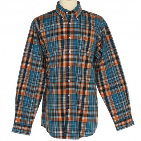 Cinch Men's  Classic Fit Long Sleeve Blue Plaid Shirt
