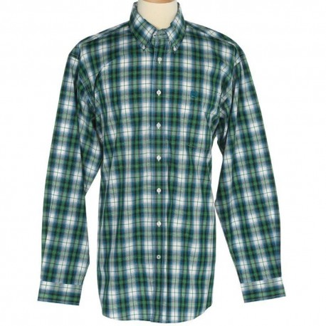 Cinch Men's  Classic Fit Long Sleeve White, Blue and Green Plaid Shirt