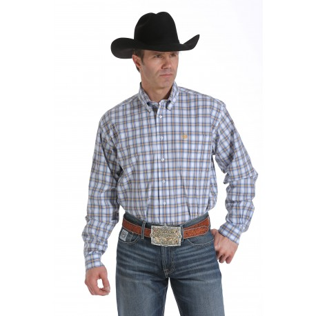 Cinch Men's  Classic Fit Long Sleeve White, Blue and Gold Plaid Shirt