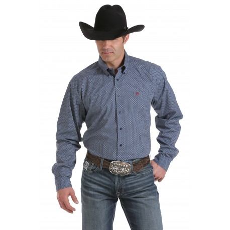 Cinch Men's  Classic Fit Long Sleeve Blue Geo Print Shirt
