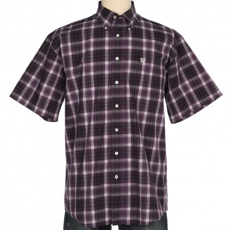 Cinch Men's  Short Sleeve Purple Plaid Shirt