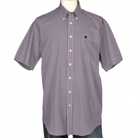 Cinch Men's  Short Sleeve White and Purple Print Shirt