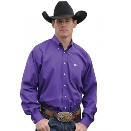 Cinch Men's Classic Fit Long Sleeve Solid Purple Shirt