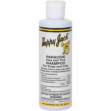 Happy Jack Paracide Flea and Tick Shampoo for Dogs and Cats 8oz