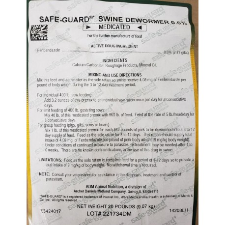 Safe-Guard .6% Swine Wormer 20lb
