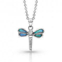 NC4192 Dragonfly in Opal Necklace