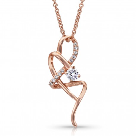 NC4188RG Rose Gold Twisted Ribbon Necklace