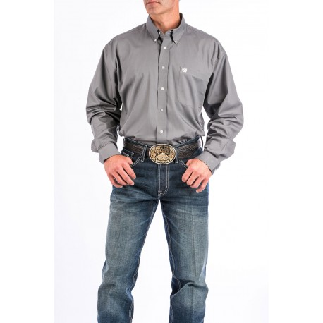 Cinch Men's Classic Fit Long Sleeve Solid Gray Shirt