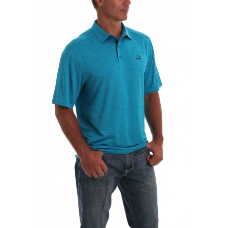 Cinch Arenaflex Men's Polo Shirt Embossed Heather Turquoise