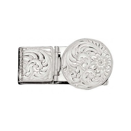 MCL22 Silver Engraved Hinged Money Clip