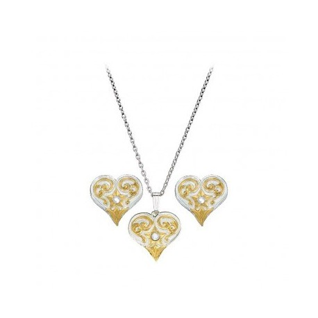 JS61222 Filigree Heart with Crystal Jewelry Set