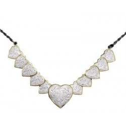 CH151 Silver and Gold Link of Hearts Choker