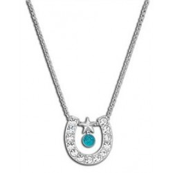 NC61523TQ Crystal Horseshoe with Turquoise Necklace