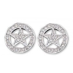 ER810CZ Clear Rhinestone Studded Star Earrings