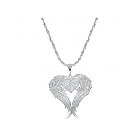 NC1129 Angel Heart Silver Necklace