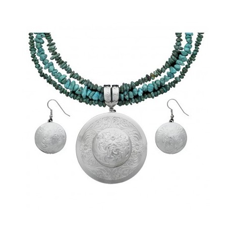 JS1269 Classic Montana Silver Engraved Concho Jewelry Set