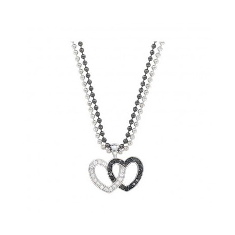 NC61505BK Crystal & Black Double Heart Pendant Necklace