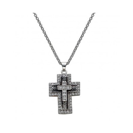 NC1236 Layered Cross of Crystal & Antiqued Silver Necklace