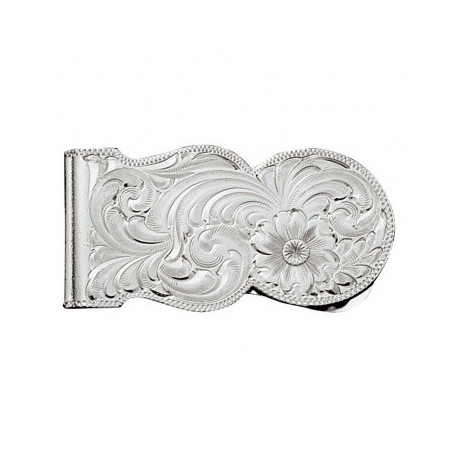 MCL11 Silver Engraved Scalloped Money Clip