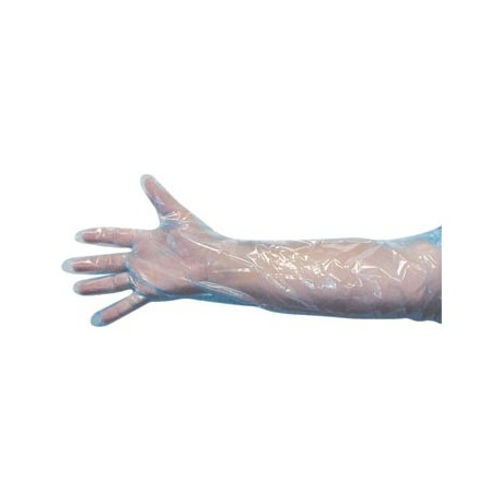 Glove Shoulder Length 1mil-Blue-Sterilized 12ct